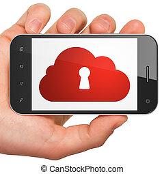schluesselloch, smartphone, technologie, concept:, wolke