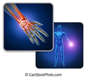 schmerz, menschliche hand, gelenk