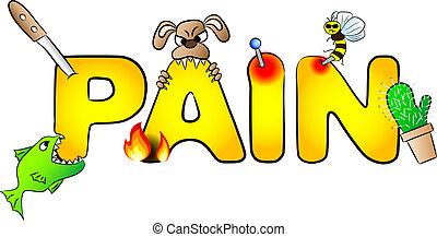 schmerz, mit, viele, schmerzen