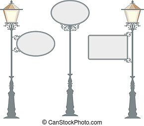 schmiedeeisen, signage, mit, lampe, laterne