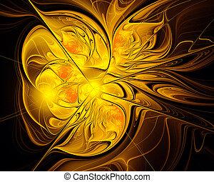 schmilzender , gold, abstrakt, black., fractal, design.