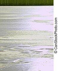 schmilzender , risse, sonne, spitze, eis, iceberg., durch, shines