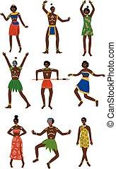 schmuck, leute, satz, angezogene , stammes-, afrikanisch, eingeboren, abbildung, traditionelle , hell, vektor, weibliche , ethnisch, mann, kleidung