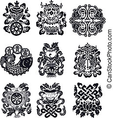 schnörkel, orientalische , emblem