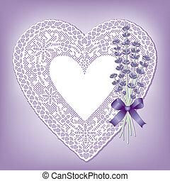 schnüren herz, doily, lieb, lavendel