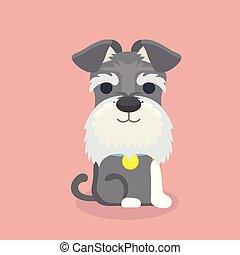 schnauzer, dessin animé, chien, vecteur, illustration.