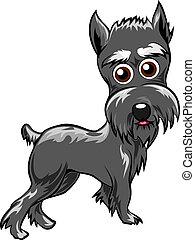 Schnauzer - Funny illustration with schnauzer puppy drawn in...