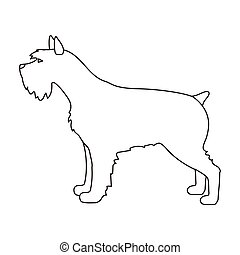 Schnauzer icon in outline style isolated on white...