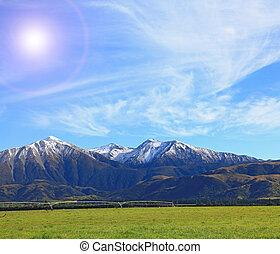 schnee, berg, von, südlich, alpin, alps, in, neuseeland, mit, sonne