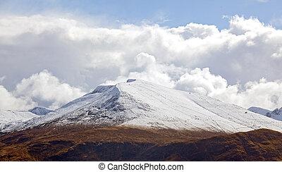 schnee, bergkette, landschaftsbild