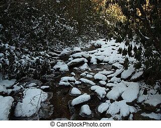 schnee, flüßchen