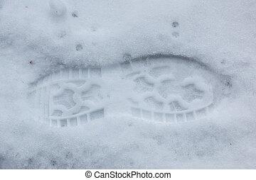schnee, fuß, schuh, menschliche , druck, weißes