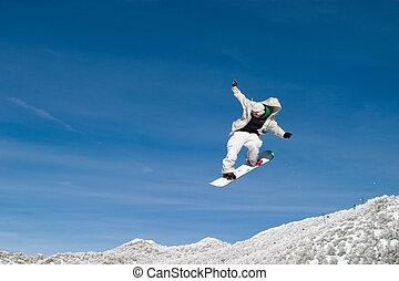 schnee, pensionsgast, hoch, luft, zoom