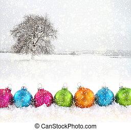 schneefeld, kugeln, hintergrund, bunte, weihnachten