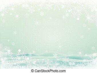 schneeflocke, umrandungen, mit, schnee, hügel, hintergrund