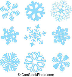 schneeflocke, winter, satz, vektor, abbildung
