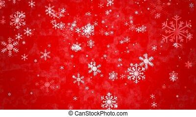 schneeflocken, auf, roter hintergrund