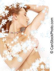 schneeflocken, bunte, eingeschlafen, ans, rothaarige, kragen