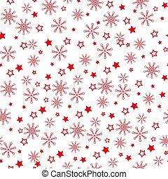 schneeflocken, licht, -, pattern., hintergrund., vektor, muster, schneeflocke, rotes