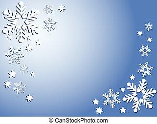 schneeflocken, und, sternen