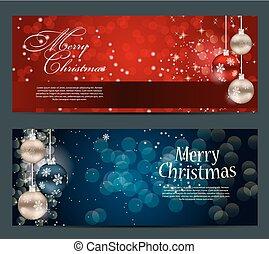 schneeflocken, vektor, karten, sternen, satz, weihnachten, kugeln, abbildung