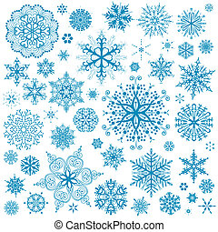 schneeflocken, weihnachten, vektor, icons., schneeflocke, sammlung, graphische kunst