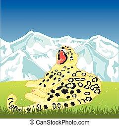 schneeleopard, auf, natur