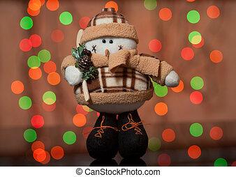 schneemann, -, a, weihnachten, spielzeug, auf, a, tannenbaum