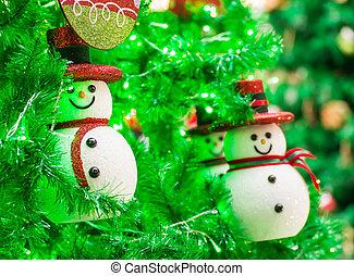schneemann, auf, weihnachtsbaum