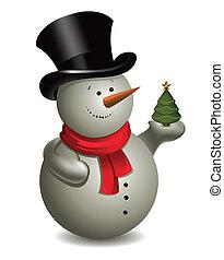 schneemann, baum., weihnachten, vektor