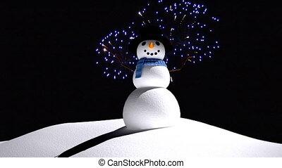 schneemann, feuerwerk, feier, jahreswechsel