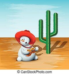 schneemann, kaktus