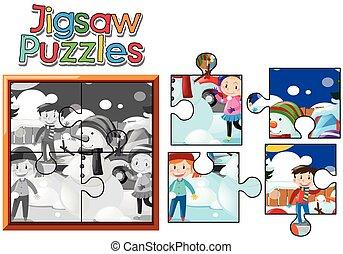 schneemann, kinder, puzzel, puzzlespielstücke, spielende