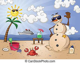 schneemann, sand, zeichen, karikatur