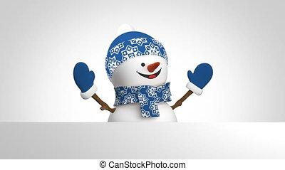 schneemann, schöne , matte., rahmen, lächeln, 3840x2160., blaues, lustiges, card., loop-able., hintergrund., animation, weißer hut, 3d, uhd, schirm, hand, alpha, karikatur, letzter , gruß, grün, 4k, belebt