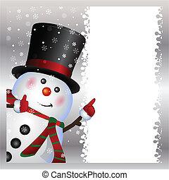 schneemann, tragen, karte
