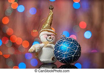 schneemann, und, weihnachten, spielzeug