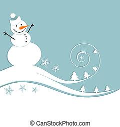 schneemann, weihnachtskarte, glücklich