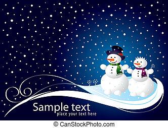 schneemann, weihnachtskarte