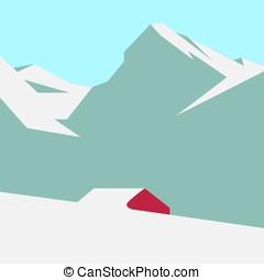 schneereicher berg, landschaftsbild