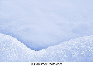 schneewehe, -, detail, beschaffenheit, schnee