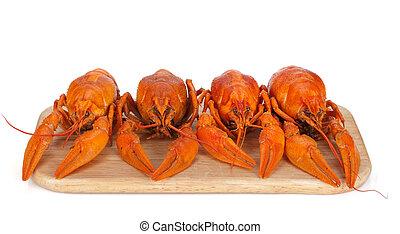 schneiden, crayfishes, gekocht, brett
