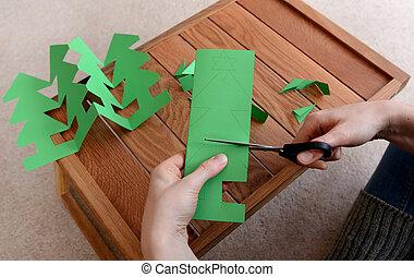 schneiden, papier, baum, weihnachten, kette