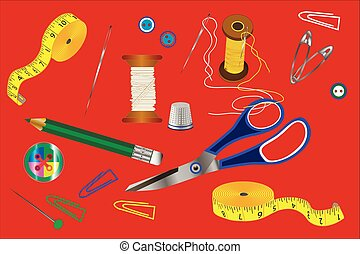 schneiderarbeit, verschieden, accessoirs