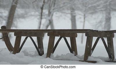 schneien, auf, holz, schlitten
