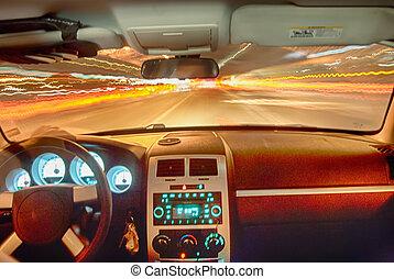 schnell, auto, in, der, tunnel
