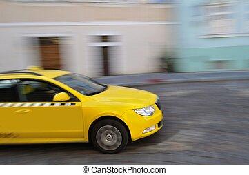 schnell, bewegen, gelbes taxi