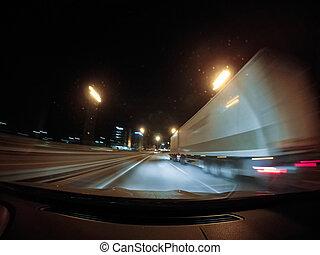 schnell, fahren, auf, der, auto, an, night.