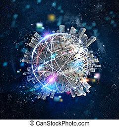 schnell, internet, weltweit, anschluss, mit, der, optische faser