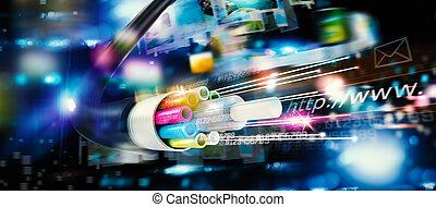 schnell, internetverbindung, mit, der, optische faser